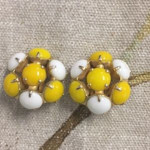 Vintage yellow and white clip earrings